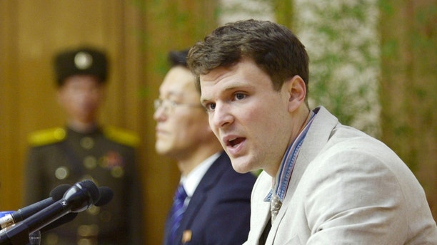 FILE PHOTO - Otto Frederick Warmbier, a University of Virginia student who has been detained in North Korea since early January, attends a news conference in Pyongyang, North Korea, in this photo released by Kyodo February 29, 2016.  Mandatory credit REUTERS/Kyodo/File Photo  ATTENTION EDITORS - THIS IMAGE HAS BEEN SUPPLIED BY A THIRD PARTY. FOR EDITORIAL USE ONLY. NOT FOR SALE FOR MARKETING OR ADVERTISING CAMPAIGNS. MANDATORY CREDIT. JAPAN OUT. NO COMMERCIAL OR EDITORIAL SALES IN JAPAN. - RC1BE14BD880