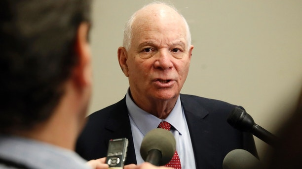 Sen. Ben Cardin, D-Md. , speaks to the media after attending a meeting with a bipartisan group of senators, Monday Jan. 22, 2018, on day three of the government shutdown on Capitol Hill in Washington.