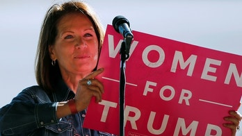 Former U.S. Representative Michele Bachmann (R-MN) speaks at a rally for Republican presidential nominee Donald Trump prior to his arrival in a cargo hangar at Minneapolis Saint Paul International Airport in Minneapolis, Minnesota, U.S. November 6, 2016. REUTERS/Jonathan Ernst - S1AEULIQNFAA