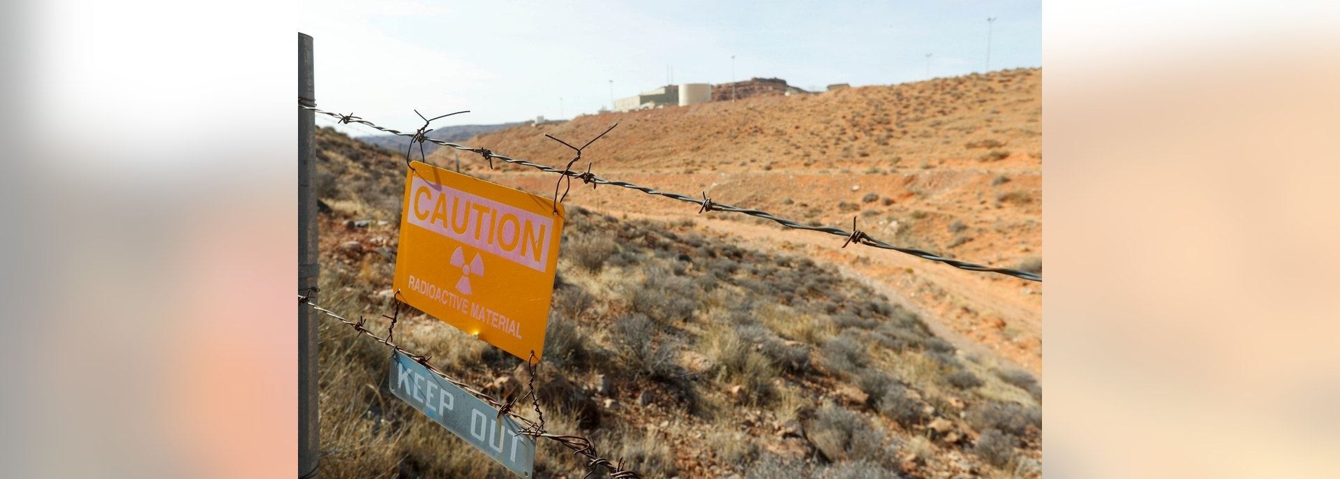 "Warning signs are displayed near Uranium One and Anfield's ""Shootaring Canyon Uranium Mill"" facility sits outside Ticaboo, Utah, U.S., November 13, 2017. Picture taken November 13, 2017.  REUTERS/George Frey - RC19566A9F00"