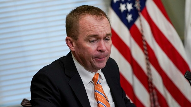 Budget Director Mick Mulvaney speaks during a meeting in the Eisenhower Executive Office Building on the White House complex in Washington, Thursday, May 25, 2017. (AP Photo/Andrew Harnik)