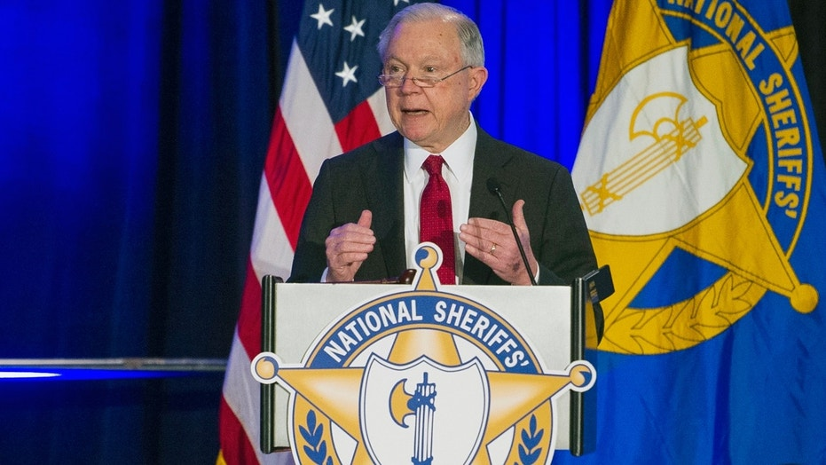 Attorney General Jeff Sessions addresses the National Sheriffs' Association Winter Conference Monday in Washington.