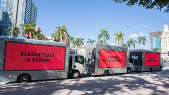 "Civic group Avaaz, released 3 mobile billboards in Miami calling for gun reform. The billboards, modeled after the Oscar-nominated film 3 Billboards Outside Ebbing Missouri, read: ""Slaughtered in school; And still no gun control; How come, Marco Rubio?"" on February 16, 2018 in Miami, Florida. (Jesus Aranguren/AVAAZ.)"