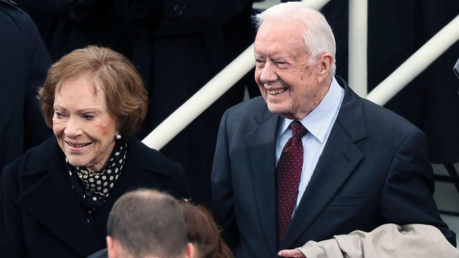In a Friday, Jan. 20, 2017 file photo, former president Jimmy Carter and Rosalynn Carter arrive during the 58th Presidential Inauguration at the U.S. Capitol in Washington.