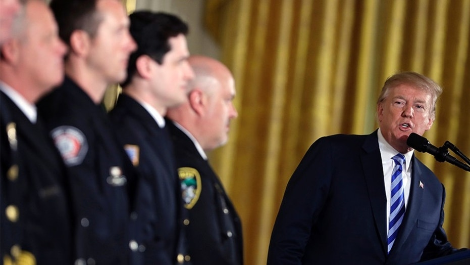 President Donald Trump speaks at the Public Safety Medal of Valor awards ceremony in the East Room of the White House, Tuesday, Feb. 20, 2018, in Washington.