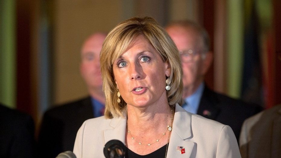 Claudia Tenney, then a state assemblywoman, speaks during a news conference in Albany, N.Y., June 10, 2015.