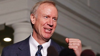 Illinois Gov-elect Bruce Rauner talks to the media after a meeting with U.S. President Barack Obama at the White House in Washington December 5, 2014.       REUTERS/Larry Downing/File Photo - TM3EC8Q1H1I01