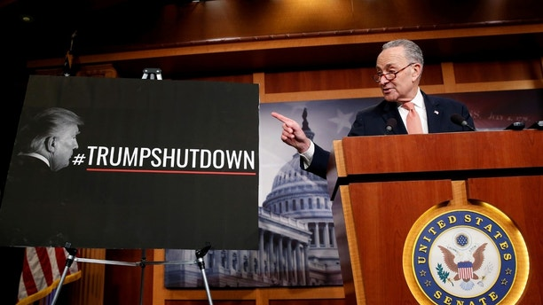 Senate Minority Leader Chuck Schumer (D-NY) speaks during a news conference after President Donald Trump and the U.S. Congress failed to reach a deal on funding for federal agencies on Capitol Hill in Washington, U.S., January 20, 2018.  REUTERS/Joshua Roberts - RC122113C0A0