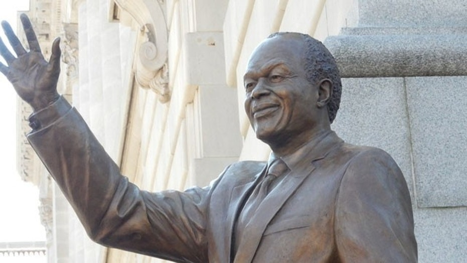 A new statue of Marion Barry, a former mayor of Washington, D.C., is seen after its unveiling, March 3, 2018.