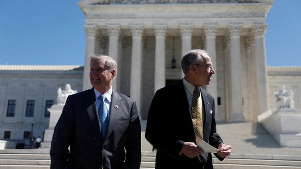 Senate Judiciary Committee Chairman Sen. Chuck Grassley (R-IA) and Sen. Lindsey Graham (R-SC) arrive for a rally for nominee Neil Gorsuch outside the Supreme Court in Washington, D.C., U.S. March 29, 2017.  REUTERS/Aaron P. Bernstein - RC19C314A1A0