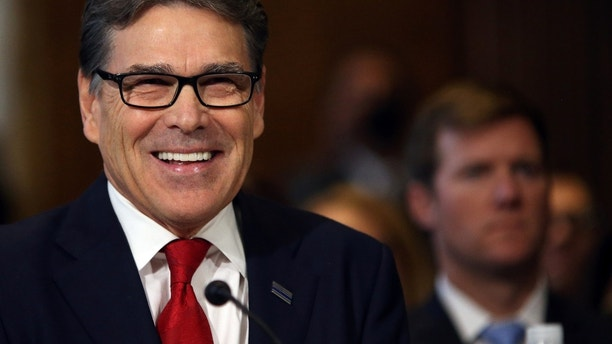 Former Texas Governor Rick Perry testifies before a Senate Energy and Natural Resources Committee hearing on his nomination to be Energy secretary at Capitol Hill in Washington, U.S., January 19, 2017. REUTERS/Carlos Barria - RC145B390900