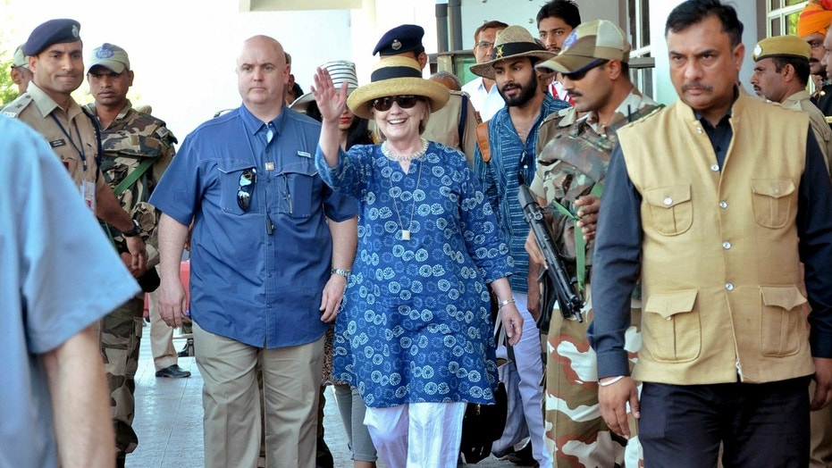 Hillary Clinton arrives in Jodphur, India on Tuesday.