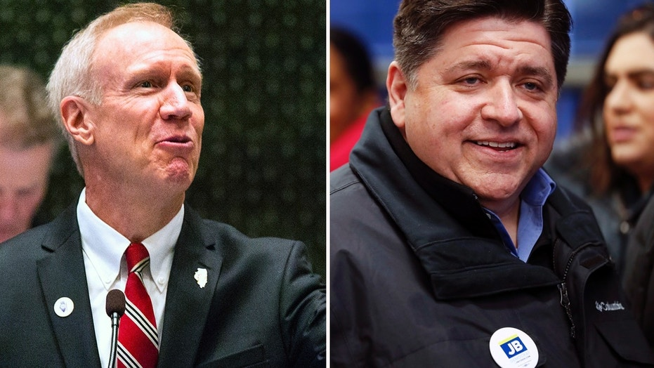 Illinois Gov. Bruce Rauner, left, and Democratic gubernatorial candidate J.B. Pritzker.