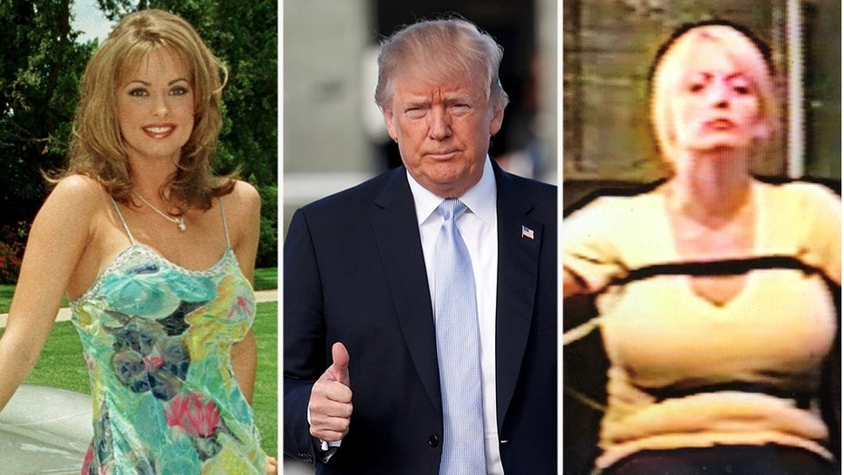 Playboy model Karen McDougal, left, sued to be released from a 2016 agreement requiring her to keep quiet about an alleged tryst she claims she had with Donald Trump, as Stormy Daniels said she passed a 2011 polygraph test.