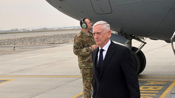 U.S. Defense Secretary Jim Mattis lands in Kabul on March 13, 2018 on an unannounced trip to Afghanistan. REUTERS/Phil Stewart - RC1855585A80