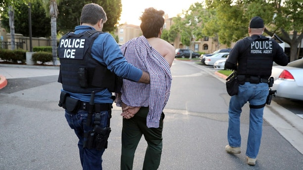 FILE PHOTO:    U.S. Immigration and Customs Enforcement (ICE) Assistant Field Office Director Jorge Field (L), 53, arrests an Iranian immigrant in San Clemente, California, U.S., May 11, 2017. REUTERS/Lucy Nicholson/File Photo - RC1A097CF900