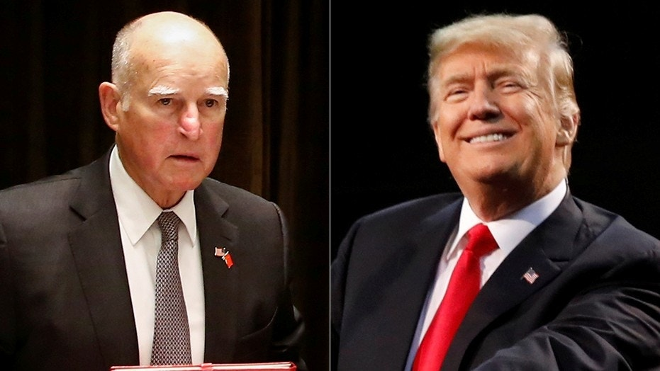 California Gov. Jerry Brown, left, and President Donald Trump.