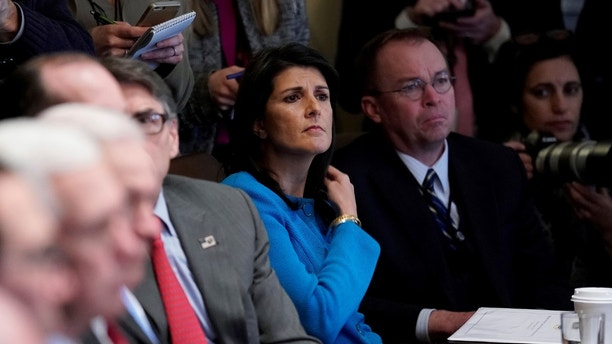 U.S. Ambassadorto the United Nations Nikki Haley and Office of Management and Budget (OMB) Director Mick Mulvaney listen as U.S. President Donald Trump holds a cabinet meeting at the White House in Washington, U.S., January 10, 2018.  REUTERS/Jonathan Ernst - RC13CD0B3640