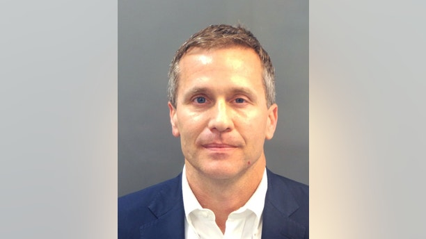 FILE PHOTO: Missouri Governor Eric Greitens appears in a police booking photo in St. Louis, Missouri, U.S., February 22, 2018.   St. Louis Metropolitan Police Dept./Handout via REUTERS. ATTENTION EDITORS - THIS IMAGE WAS PROVIDED BY A THIRD PARTY - RC188B6C23C0