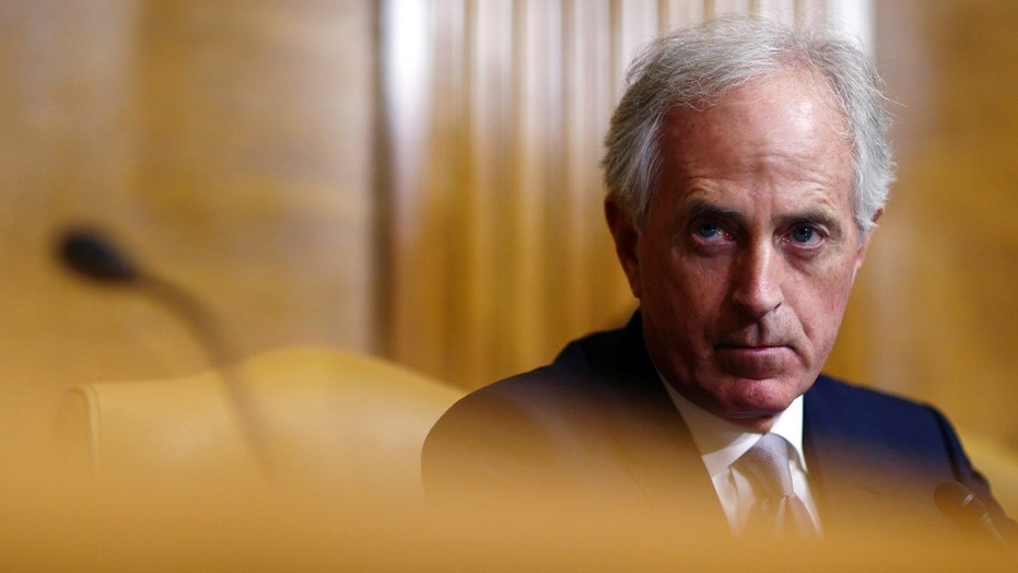 Sen. Bob Corker, R-Tenn., attends the Senate Budget Committee markup of the FY2018 Budget reconciliation legislation on Capitol Hill in Washington, U.S., Nov. 28, 2017.