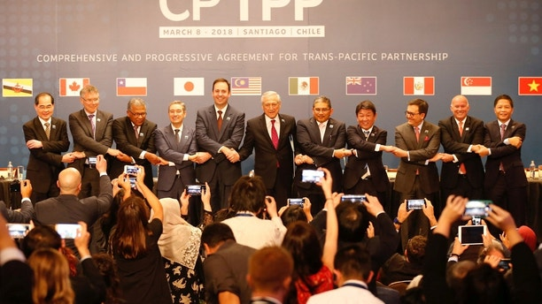 Representatives of members of Trans-Pacific Partnership (TPP) trade deal: Brunei's Acting Minister for Foreign Affairs Erywan Dato Pehin, Chile's Foreign Minister Heraldo Munoz, Australia's Trade Minister Steven Ciobo, Canada's International Trade Minister Francois-Phillippe Champagne, Singapur's Minister for Trade and Industry Lim Hng Kiang, New Zealand's Minister for Trade and Export Growth David Parker, Malaysia's Minister for Trade and Industry Datuk J. Jayasiri, Japan's Minister of Economic Revitalization Toshimitsu Motegi, Mexico's Secretary of Economy Ildefonso Guajardo Villarreal, Peru's Minister of Foreign Trade and Tourism Eduardo Ferreyros Kuppers and Vietnam's Industry and Trade Minister Tran Tuan Anh, pose for an official picture after the signing agreement ceremony in Santiago, Chile March 8, 2018. REUTERS/Rodrigo Garrido - RC150C1FB650