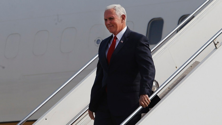 Vice President Mike Pence arrives to Jorge Chavez international airport in Lima, Peru, Friday, April 13, 2018. Pence is in Lima to attend the Americas Summit.