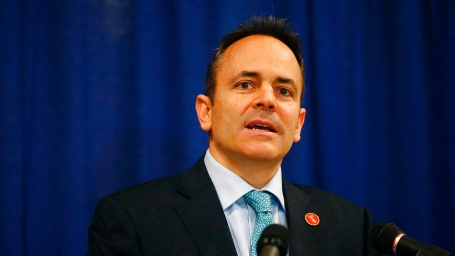 Kentucky Gov. Matt Bevin speaks at the Capitol Rotunda in Frankfort, Ky., Jan. 12, 2018.