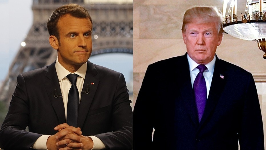 "French President Emmanuel Macron, left, said on Sunday: ""Ten days ago, President Trump wanted to withdraw from Syria. We convinced him to remain."""