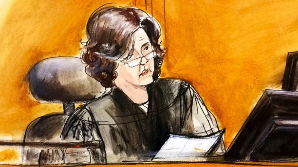 In this courtroom sketch, U.S. District Judge Kimba Wood presides over a federal court hearing where attorneys for President Donald Trump and Michael Cohen, the president's personal attorney, tried to persuade the judge to delay prosecutors from examining records and electronic devices seized in the raids on the grounds that many of them are protected by attorney-client privilege, Monday, April 16, 2018, in New York. The legal fight took a surprise twist when Cohen was forced to reveal a secret: that he had also done legal work for Fox News host Sean Hannity. (Elizabeth Williams via AP)