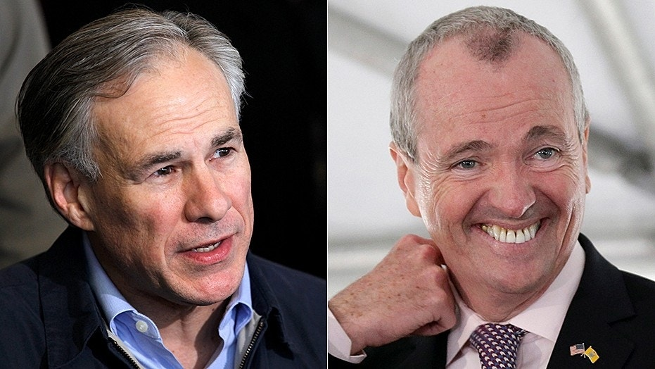 Texas Gov. Greg Abbott, left, welcomes New Jersey residents to the Lone Star State as New Jersey Gov. Phil Murphy, right, proposes tax hikes in new budget.