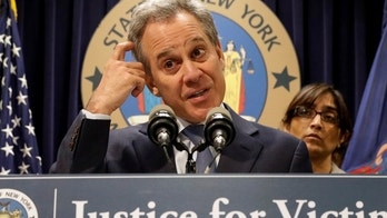 New York Attorney General Eric Schneiderman speaks during a news conference to discuss the civil rights lawsuit filed against The Weinstein Companies and Harvey Weinstein in New York, U.S., February 12, 2018. REUTERS/Brendan McDermid - RC1CFBA91EC0