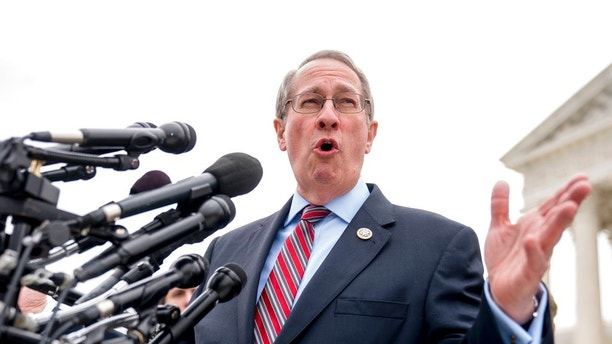 Rep. Bob Goodlatte, R-Va., speaks outside the Supreme Court after the court heard oral arguments on a case involving a rule stemming from two, decades-old Supreme Court cases on state's sales tax collection, Tuesday, April 17, 2018, in Washington. South Dakota v. Wayfair is a case arguing about whether a rule the Supreme Court announced decades ago in a case involving a catalog retailer should still apply in the age of the internet. (AP Photo/Andrew Harnik)
