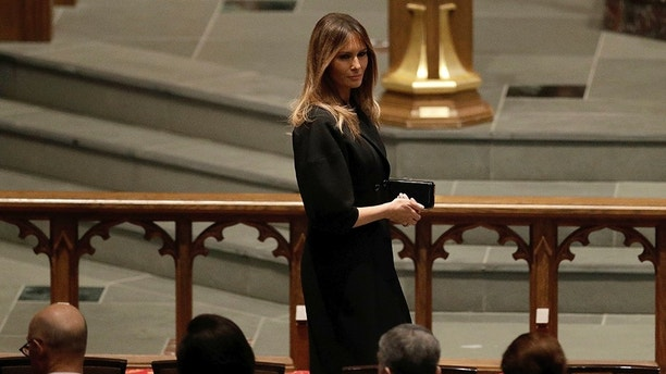 First Lady Melania Trump arrives at St. Martin's Episcopal Church for a funeral service for former first lady Barbara Bush, Saturday, April 21, 2018, in Houston. (AP Photo/David J. Phillip )