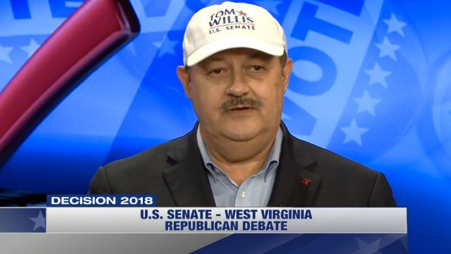 """During a televised debate Tuesday, Don Blankenship, a Republican candidate for Senate in West Virginia, wore a hat that said, in bold lettering: """"Tom Willis, U.S. Senate."""""""