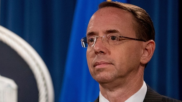 Deputy Attorney General Rod Rosenstein attends a briefing at the Justice Department in Washington, Friday, Aug. 4, 2017, on leaks of classified material threatening national security, one week after President Donald Trump complained that he was weak on preventing such disclosures. (AP Andrew Harnik)