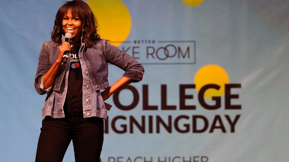 Former first lady Michelle Obama speaks at College Signing Day in Philadelphia last week.