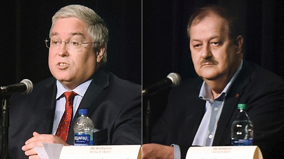 West Virginia Attorney General Patrick Morrisey, left, laid out a plan to have the former coal baron Don Blankenship disqualified from Tuesday's Republican Senate primary.