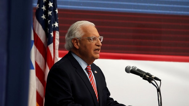 U.S. Ambassador to Israel David Friedman speaks during the dedication ceremony of the new U.S. embassy in Jerusalem, May 14, 2018. REUTERS/Ronen Zvulun - RC186CECF100