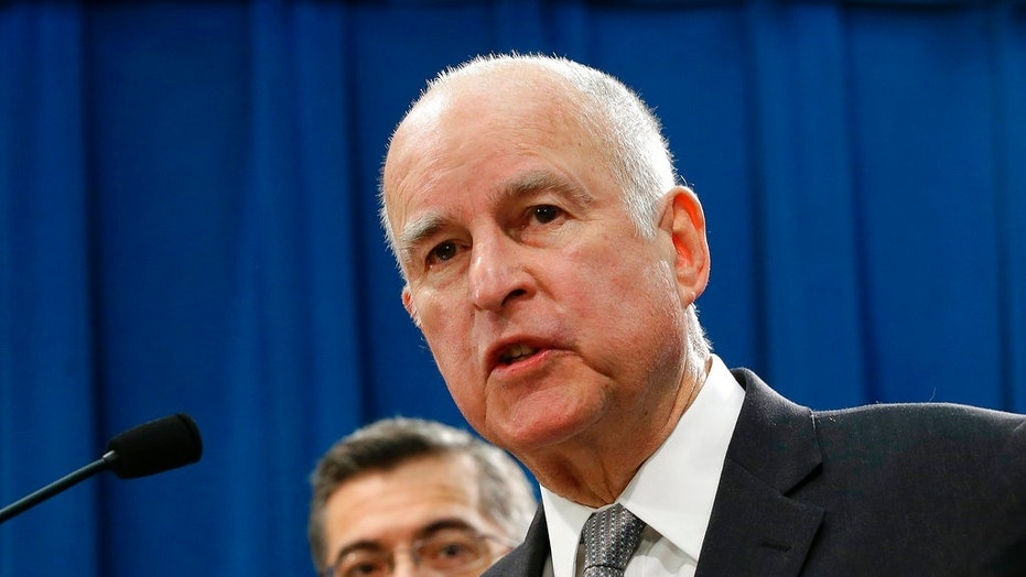 FILE - In this Wednesday, March 7, 2018, file photo, California Gov. Jerry Brown speaks during a news conference in Sacramento, Calif.