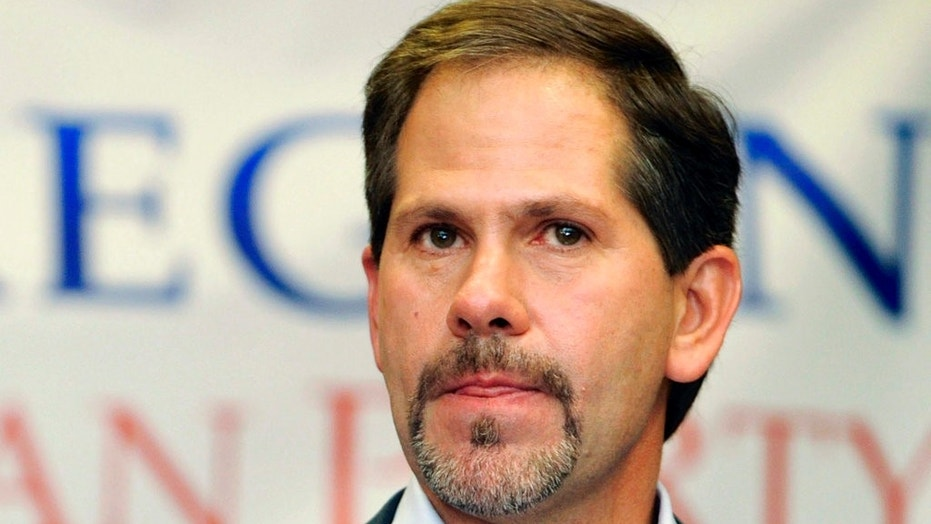 In this Nov. 6, 2012 photo, Knute Buehler, who ran for Oregon Secretary of State, makes a concession speech to supporters at a Republican election party in Portland, Oregon. Buehler won the GOP gubernatorial primary Tuesday.