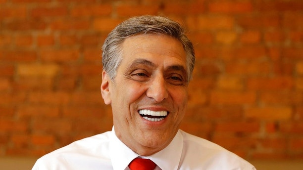 U.S. Rep. Lou Barletta, R-Pa., Republican primary candidate for U.S. Senate, smiles during a lunch gathering, Tuesday, May 15, 2018, in Scranton, Pa. During Pennsylvania's Tuesday, May 15, 2018, primary election, Republican Party voters in the state will select Barletta or Pennsylvania state Rep. Jim Christiana as their nominee to challenge Democratic U.S. Sen. Bob Casey's re-election bid. (AP Photo/Matt Slocum)