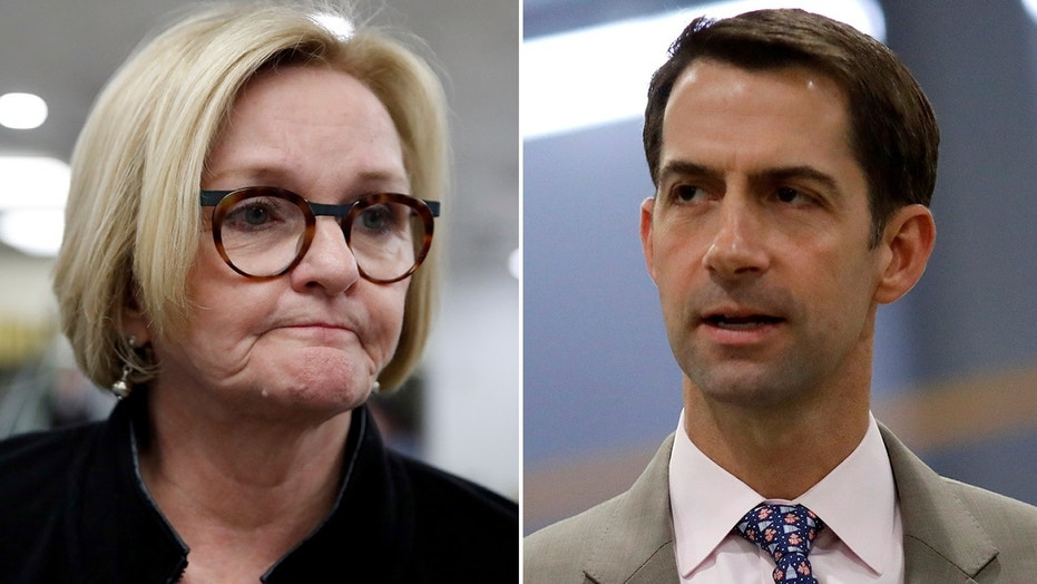 U.S. Sen. Claire McCaskill, D-Mo., left, voted against Trump pick Gina Haspel's nomination as CIA director, drawing criticism from U.S. Sen. Tom Cotton, R-Ark., right.