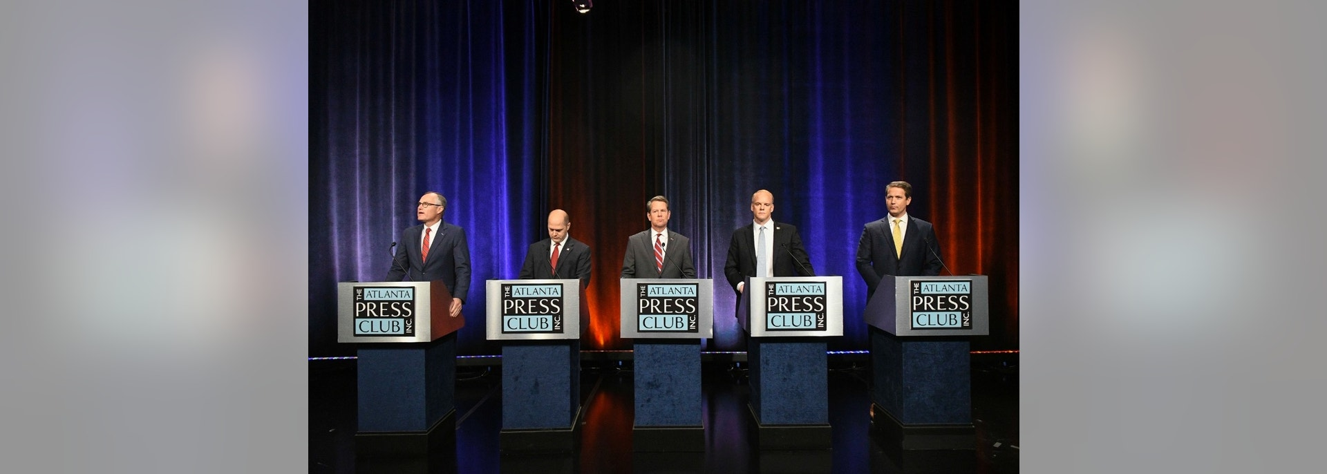 CORRECTS TO SAY THAT CANDIDATES ARE WAITING FOR DEBATE TO START, INSTEAD OF ALREADY PARTICIPATING - Georgia Republican gubernatorial candidates, from left to right, Casey Cagle, Hunter Hill, Brian Kemp, Clay Tippins and Michael Williams wait for their debate to begin, Thursday, May 17, 2018, in Atlanta. (AP Photo/John Amis)