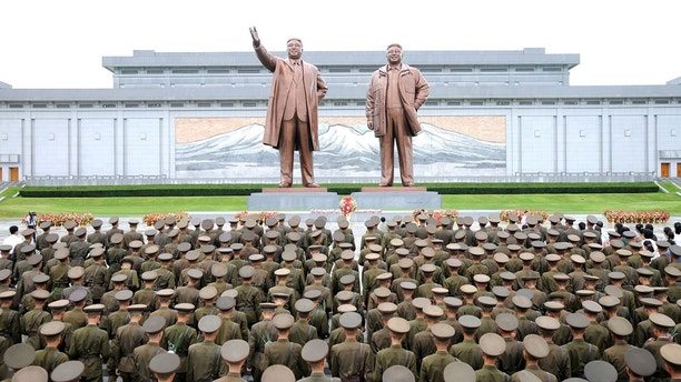 Servicepersons of the Korean People's Army (KPA) and the Korean People's Internal Security Forces (KPISF), civilians, school youth and children visited the statues of President Kim Il Sung and leader Kim Jong Il on the occasion of the 72nd anniversary of national liberation in this undated photo released by North Korea's Korean Central News Agency (KCNA) on August 15, 2017. KCNA/via REUTERS    ATTENTION EDITORS - THIS PICTURE WAS PROVIDED BY A THIRD PARTY. NO THIRD PARTY SALES.  SOUTH KOREA OUT. NO COMMERCIAL OR EDITORIAL SALES IN SOUTH KOREA.     TPX IMAGES OF THE DAY - RC1652B32590