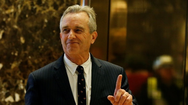 Robert F. Kennedy Jr. gestures while entering the lobby of Trump Tower in Manhattan, New York, U.S., January 10, 2017. REUTERS/Shannon Stapleton - RC1F5DE05F50