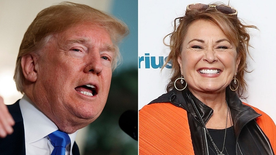 """President Trump on Thursday spoke out for the first time about ABC's cancellation of """"Roseanne,"""" knocking the network for not apologizing in other instances where people connected to ABC have made anti-Trump comments."""
