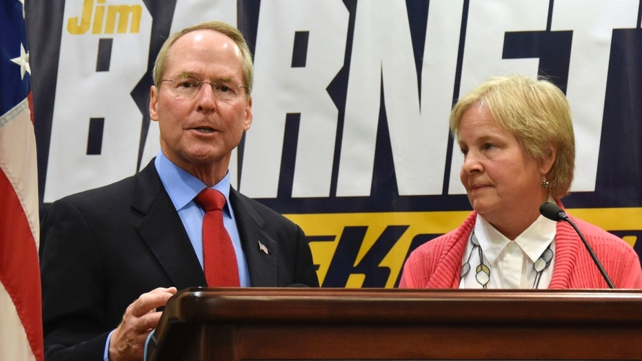 Former state Sen. Jim Barnett introduced his wife, Rosie Hansen, as his running mate in the race for the Republican nomination for governor.