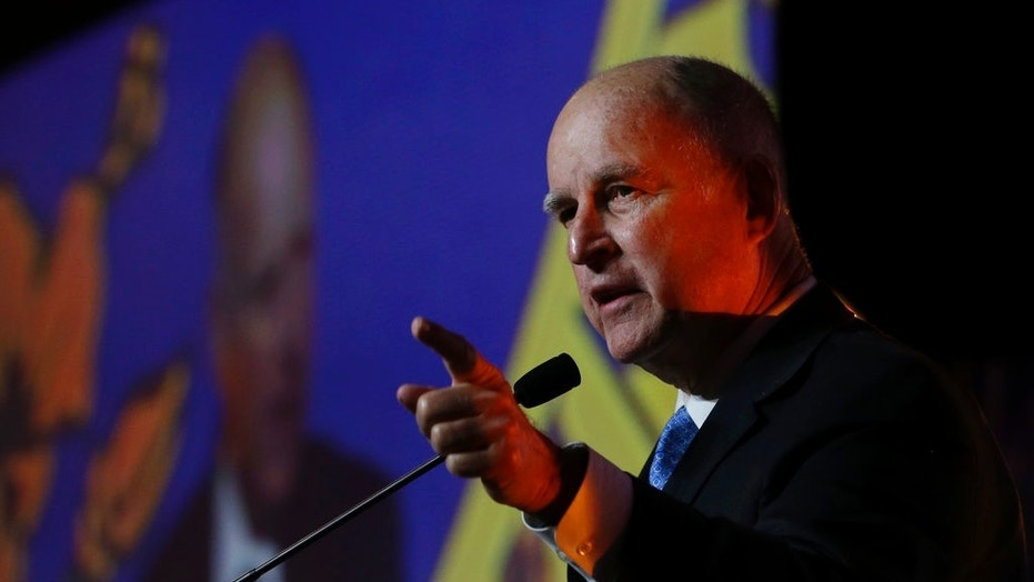 California Gov. Jerry Brown, shown speaking in Sacramento, reportedly receives an annual salary of $195,803, excluding benefits.