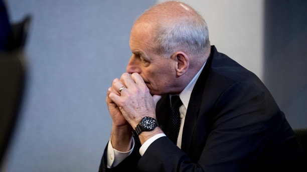 President Donald Trump's chief of staff John Kelly attends a briefing on this year's hurricane season at the Federal Emergency Management Agency Headquarters, Wednesday, June 6, 2018, in Washington. (AP Photo/Andrew Harnik)