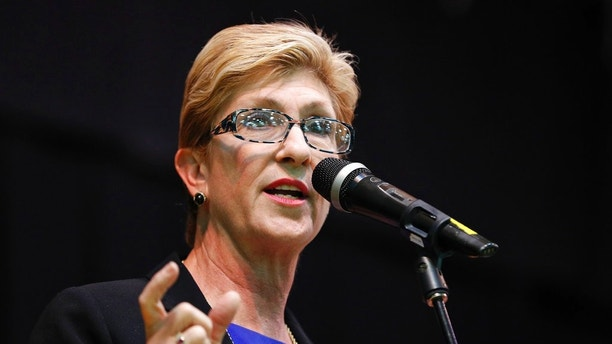 FILE - In this May 8, 2018 file photo, Clark County Commission member Chris Giunchigliani speaks during a forum for Nevada gubernatorial candidates in Las Vegas. The most closely-watched race in Nevada's primary election Tuesday, June 12, is the battle for governor. The toughest choice for Democrats will be a close battle between Clark County Commission colleagues Steve Sisolak and Giunchigliani - each hoping to be Nevada's first Democratic governor in two decades. (AP Photo/John Locher, File)